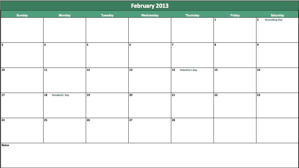 February 2013 Excel Calendar