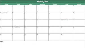 february 2014 calendar template