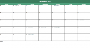 free annual calendar 2013 for excel