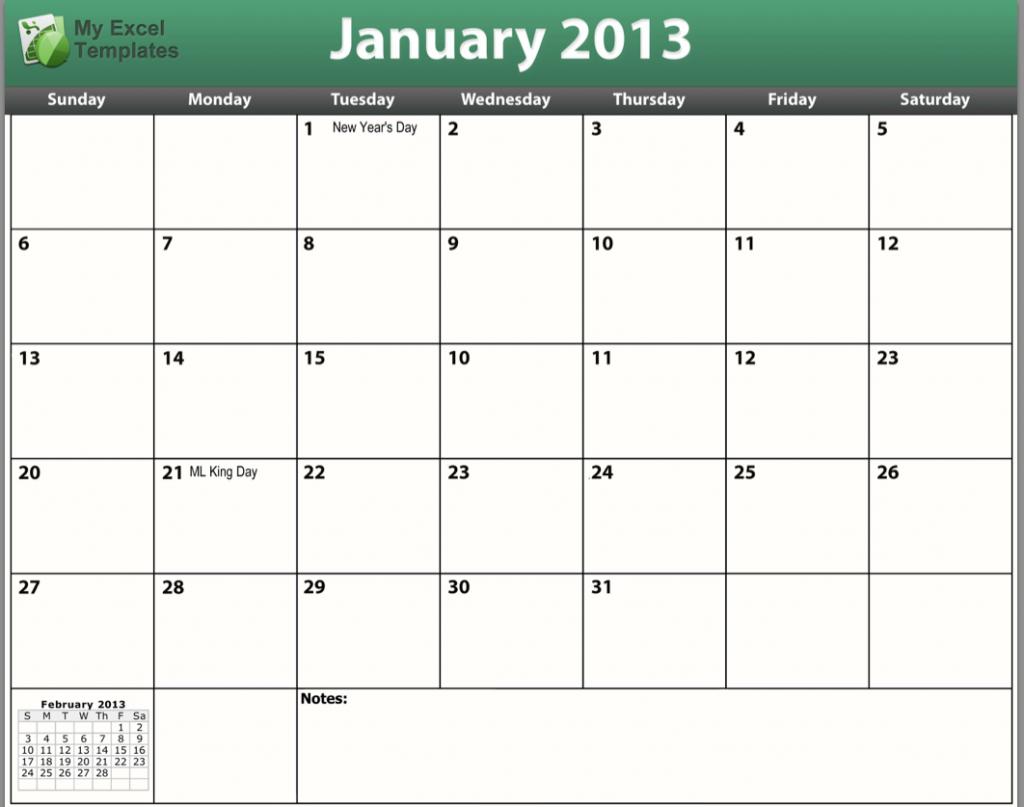 printable january 2013 calendar