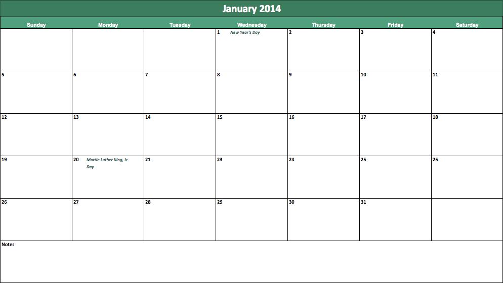 january 2014 calendar template