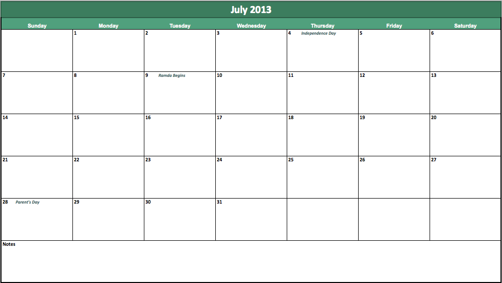 july 2013 calendar template for excel