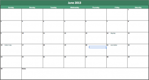 june 2013 calendar for excel