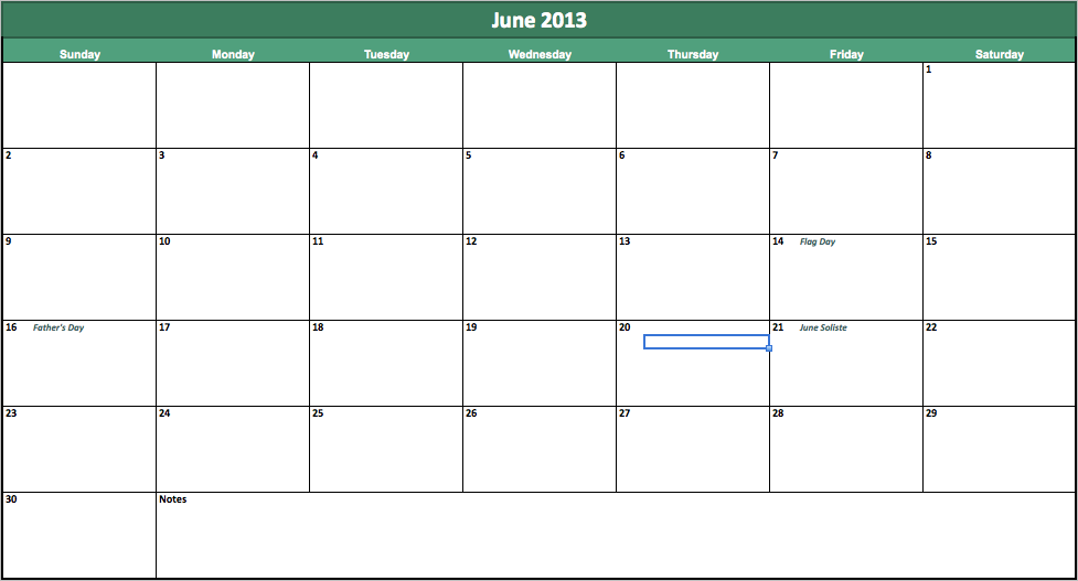 Calendar June 2013 : The gallery for gt june calendar printable