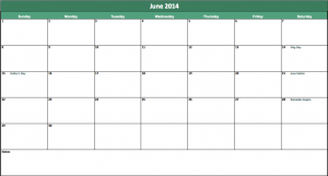 june 2014 calendar template
