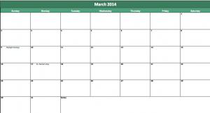 march 2014 calendar template
