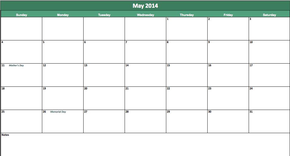 may 2014 calendar template