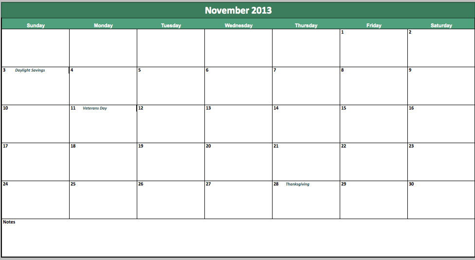 free november 2013 calendar