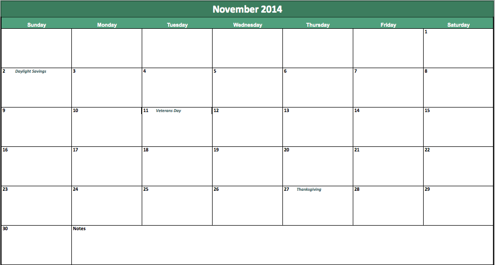 Calendars For The Month of November 2014 November 2014 Calendar