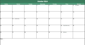 october2014 calendar template