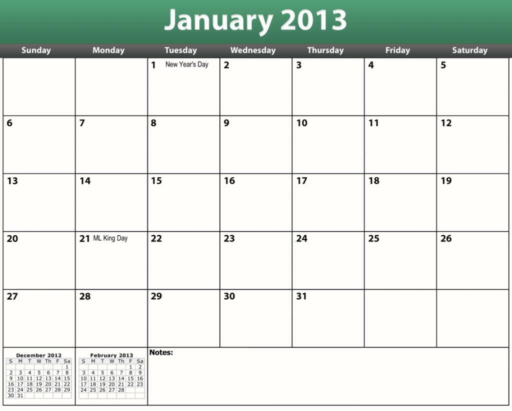 printable pdf 2013 calendar template