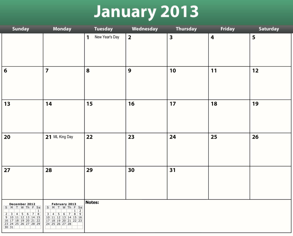 Numbers 2013 Yearly Calendar Template | Free iWork Templates