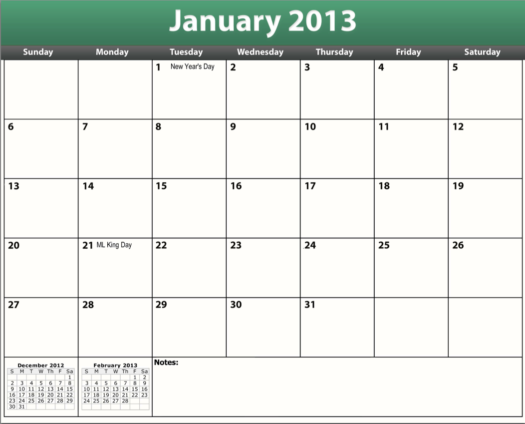 free printable pdf 2013 holiday calendar
