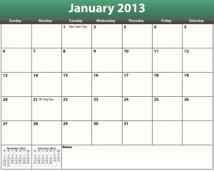 free printable pdf 2013 monthly calendar
