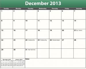 get a free printable pdf december 2013 calendar