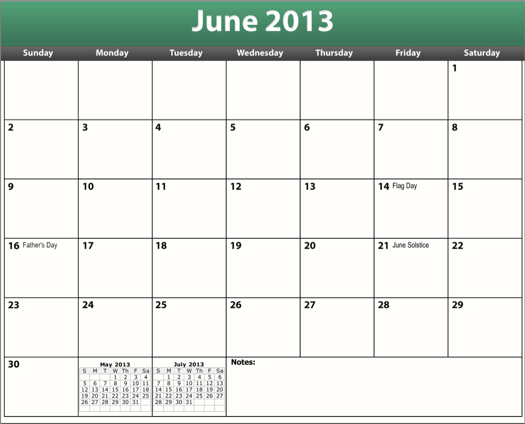 printable pdf june 2013 calendar template