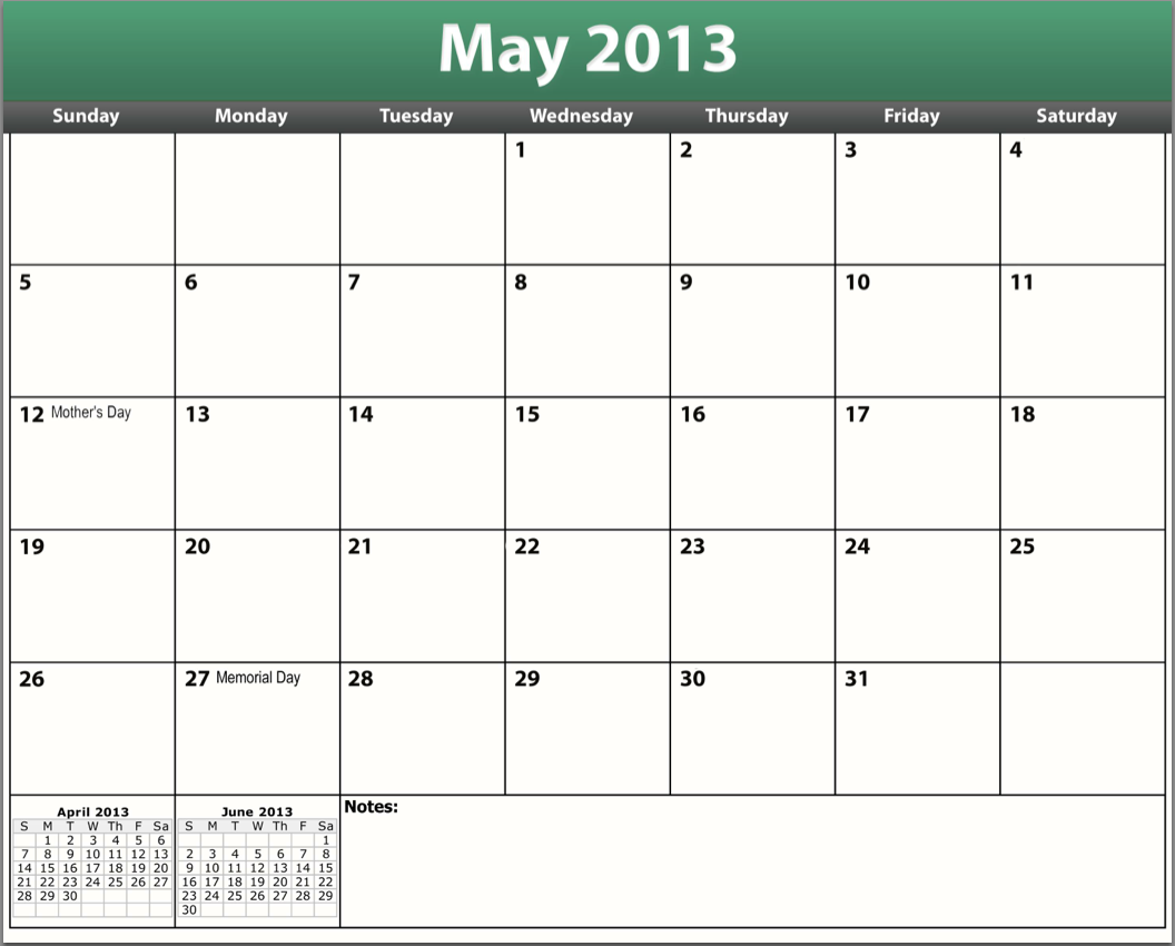 printable pdf may 2013 calendar template