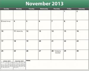 printable pdf november 2013 calendar
