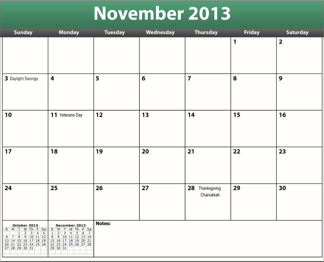 November December 2013 Calendar Printable pdf november 2013