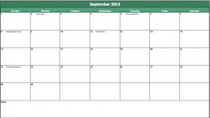 excel september 2013 calendar