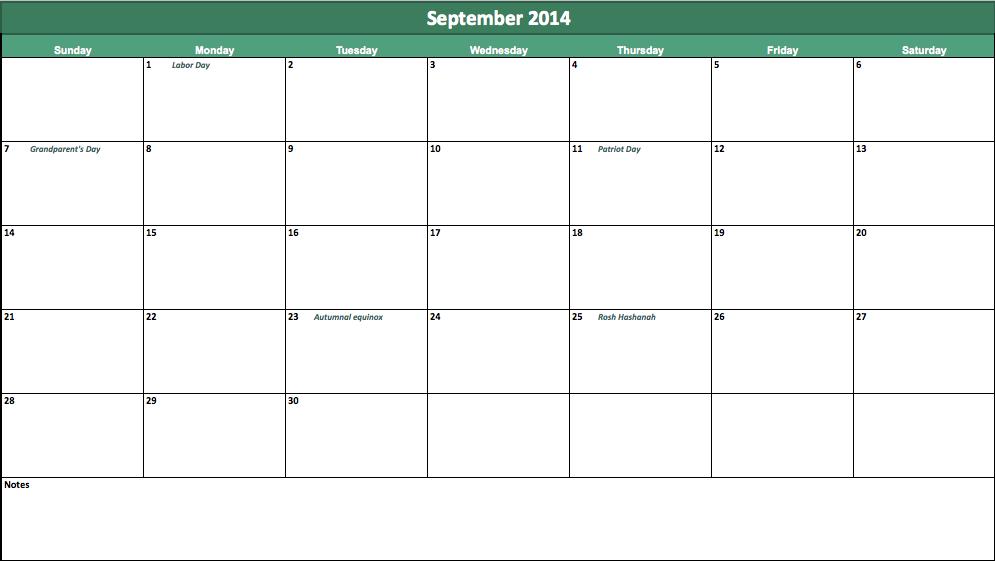 september 2014 calendar template