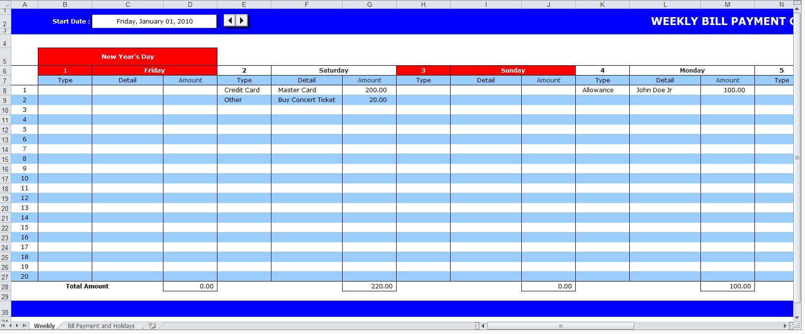 Bill Pay Calendar | New Calendar Template Site