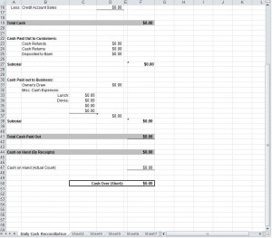 Daily Cash Sheet for MyExcelTemplates.com