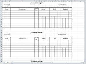 General Ledger Spreadsheet  General Ledger Form