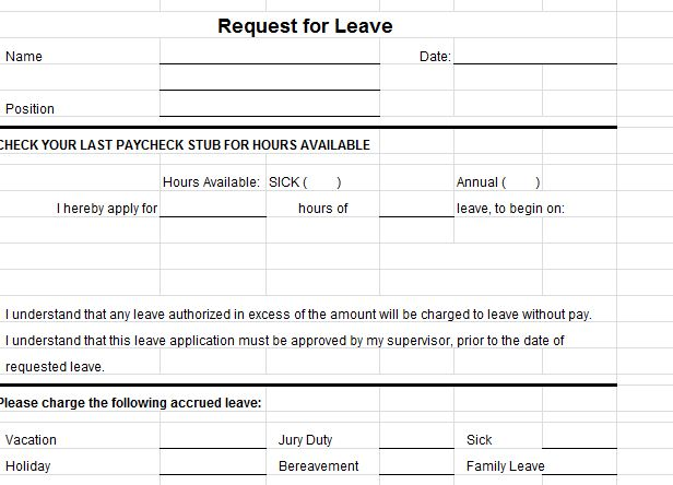 Leave Request Templates  Application For Leave Form
