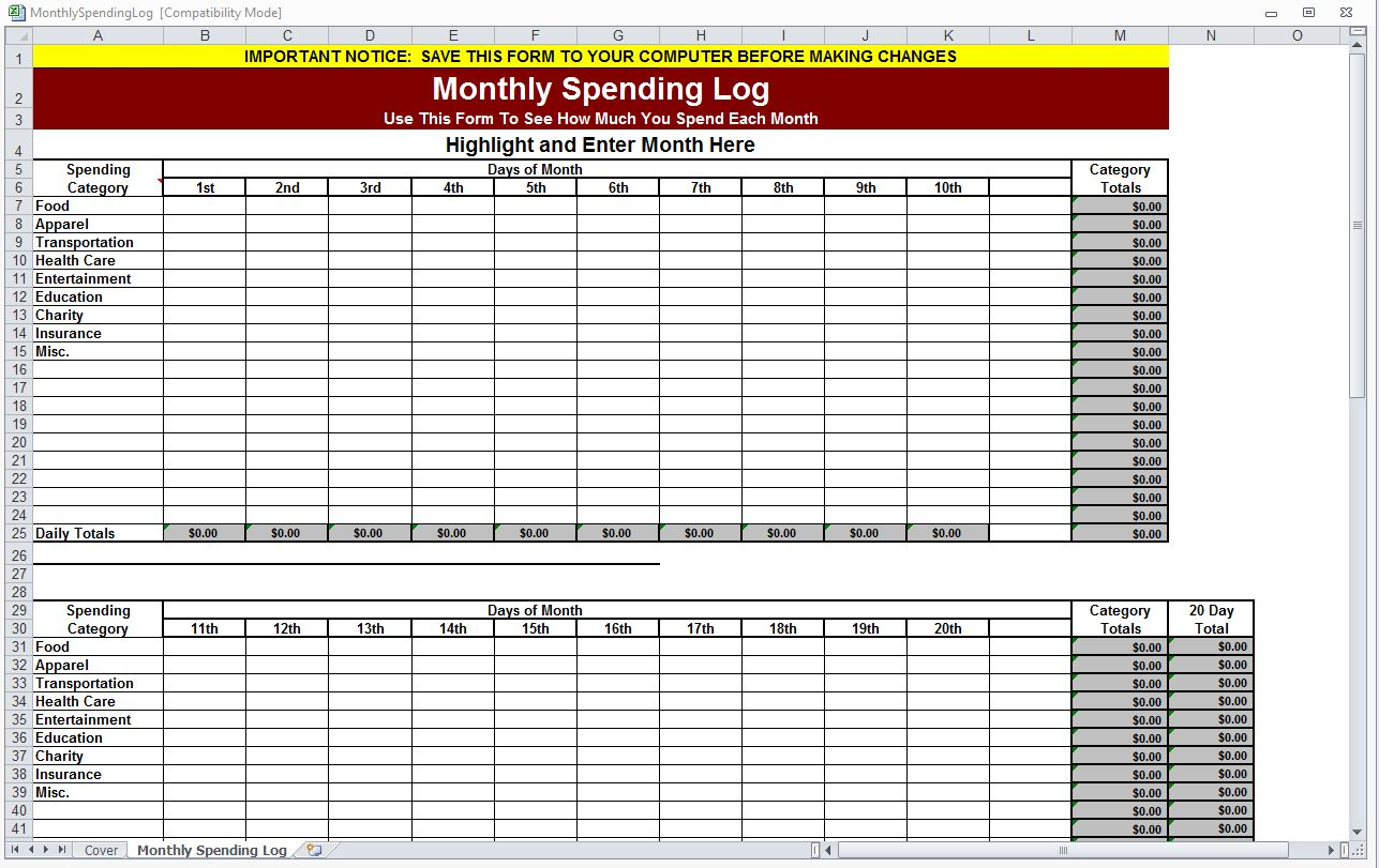 Monthly Spending Log | Monthly Spending Worksheet