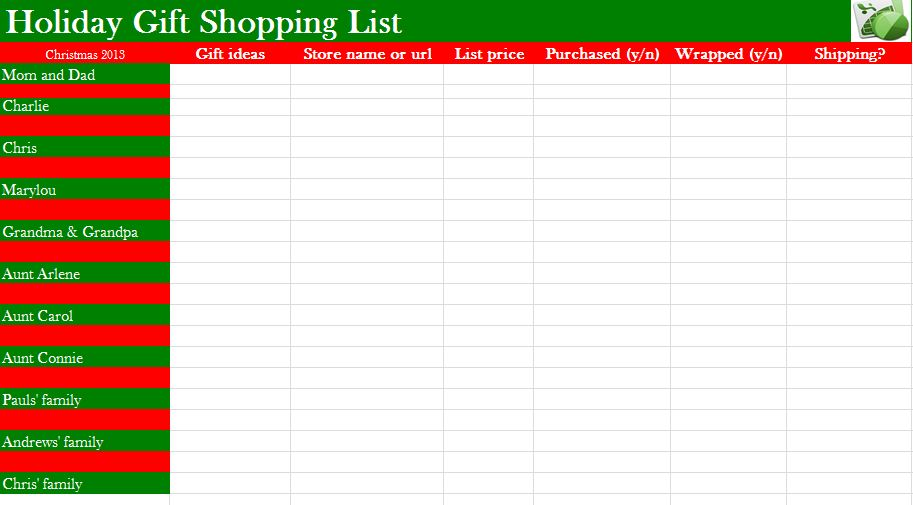 Gallery images and information: Christmas Shopping List Template