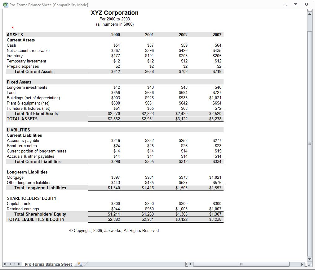 Proforma Balance Sheet from MyExcelTemplates.com