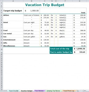 Vacation Trip Planner from MyExcelTemplates.com