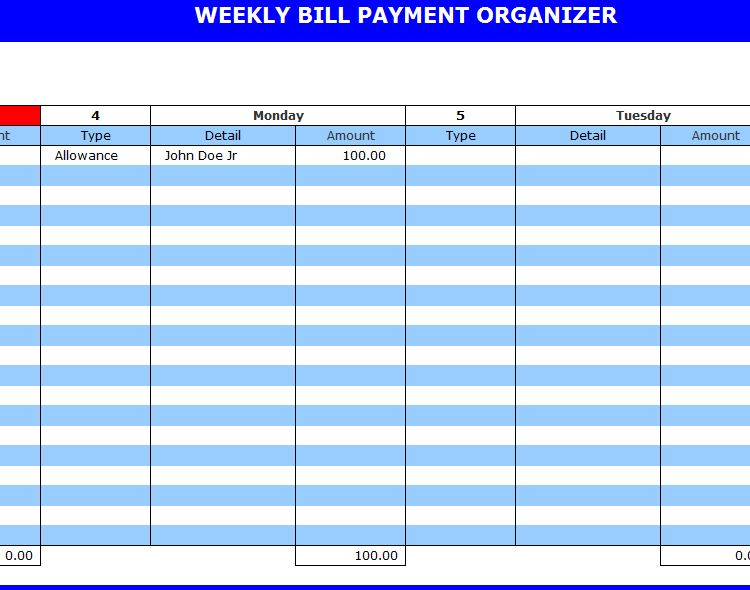 ... jpeg 71kB, Excel Calendar Bill Organizer | New Calendar Template Site