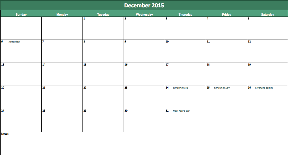 excel calendar 2015 with holidays