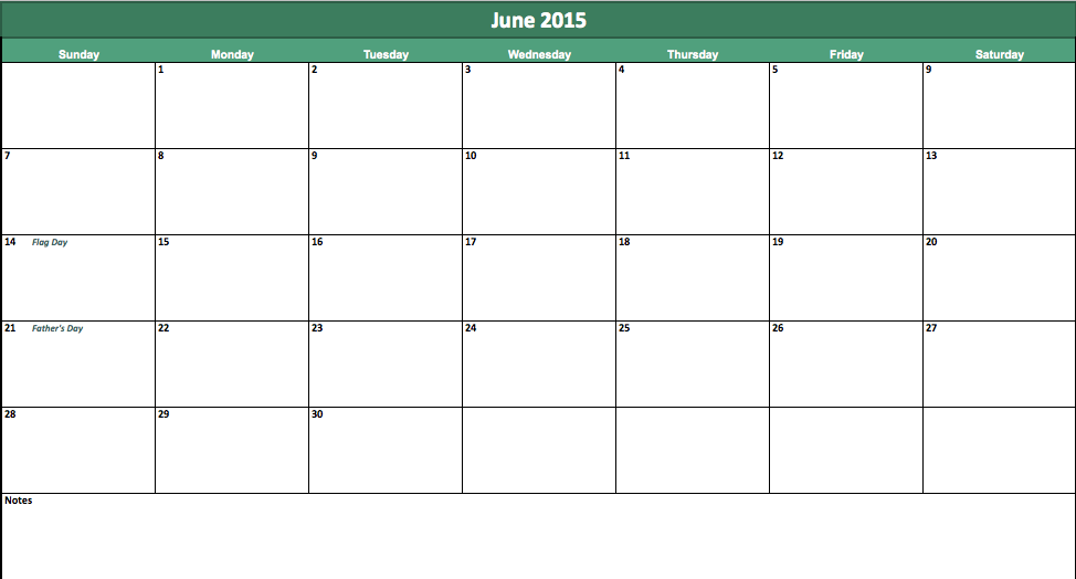 June 2015 Calendar Template Datariouruguay