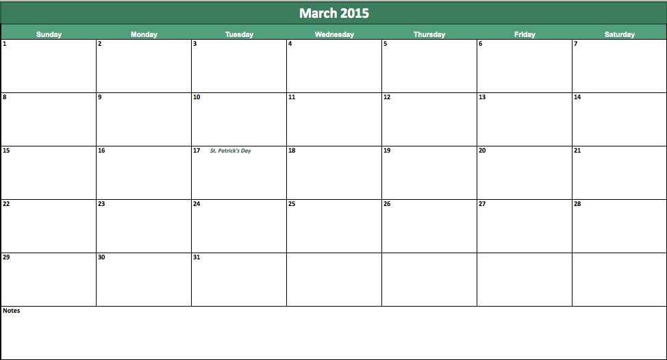 Excel March 2015 Calendar Template: Making plans for 2015?
