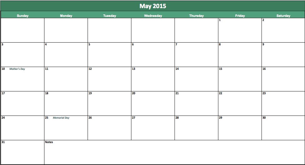 May 2015 Calendar My Excel Templates