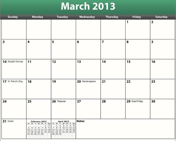 free printable pdf march 2013 calendar
