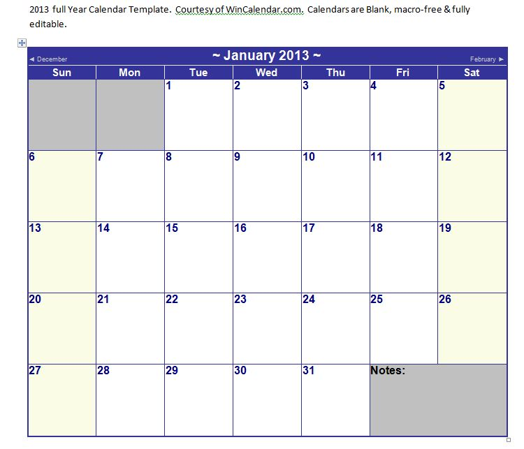 Microsoft Word Calendar Template 2013 from MyExcelTemplates.com