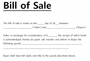 The Bill of Sale Template Word document