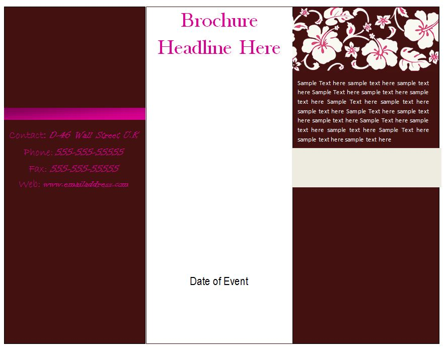 Free brochure template tri fold brochure template free for Ms word brochure template