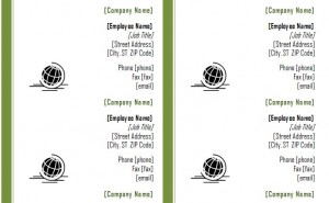 screenshot of the Business Card Template Word