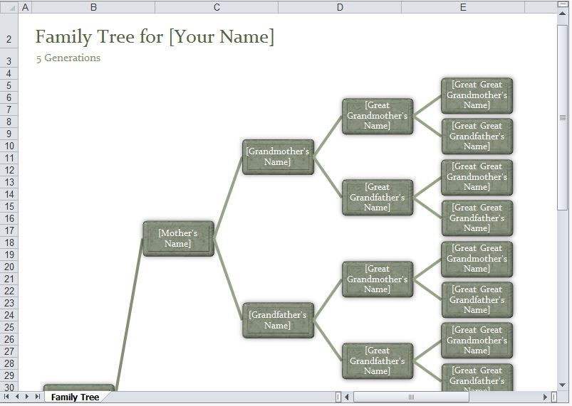 Family Tree Template Excel Excel Family Tree Template