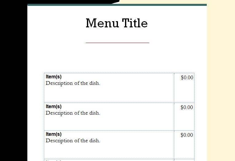 word document menu template Template – Word Restaurant Menu Template