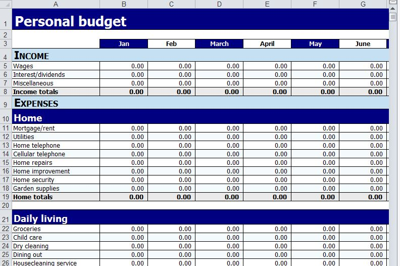 Home Budget Worksheet Excel  BesikEightyCo