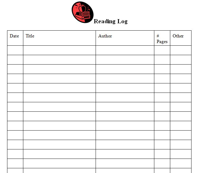 Reading Log Template | Reading Log Template Middle School