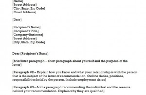 the recommendation letter template