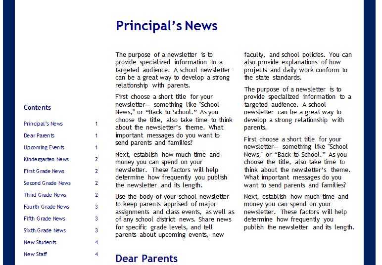 School Newsletter Templates | School Newsletter Templates