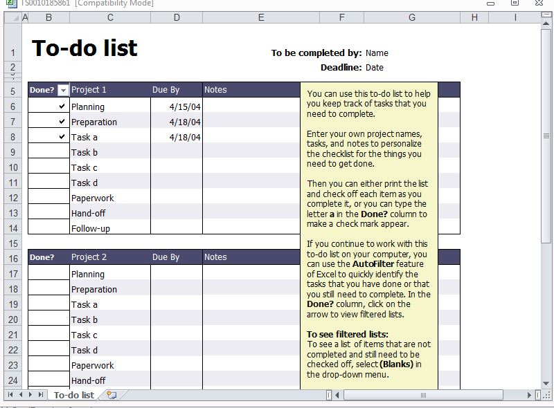 Excel Do List Template